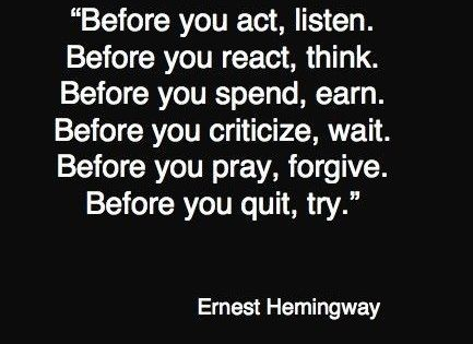 A quote from Ernest Hemingway.