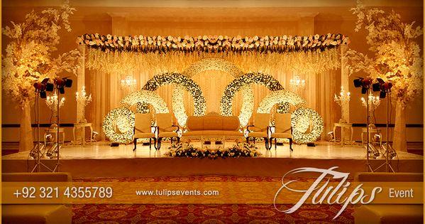 Golden Pakistani Wedding Theme Decoration Stage Setup Theme Design And