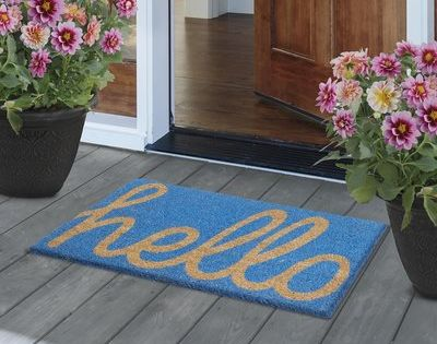 Ebern Designs Marlowe Cursive Hello Outdoor Door Mat Wayfair Door Mat Fab Habitat Outdoor Door Mat