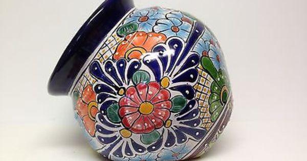 Talavera Flower Pot Tilted Planter Handmade Hand Painted Leaning Planter Flower Pots Pot Designs Planting Pots