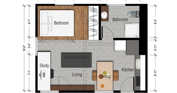 Studio apartments floor plan 300 square feet location for Floor plans los angeles