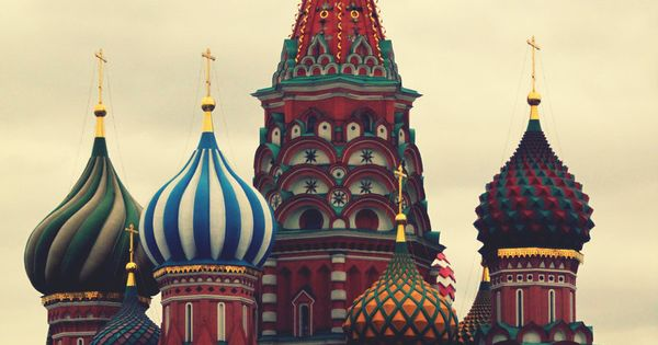 The iconic domed buildings of Moscow, Russia.