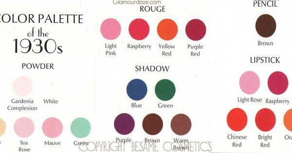 1930s MAKEUP Color Palette 1930s Makeup Pinterest Makeup Palette 1930