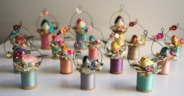 Easter ornaments - wooden spools