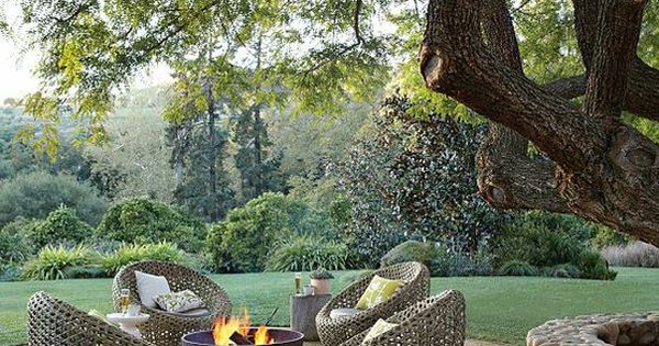 Outdoor space with sugar kettle for a firepit