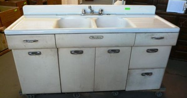 Vintage Kitchen Sink Cabinet Cant Wait To Get Rid Of This Metal Kitchen Cabinets Kitchen Cabinets For Sale Metal Kitchen