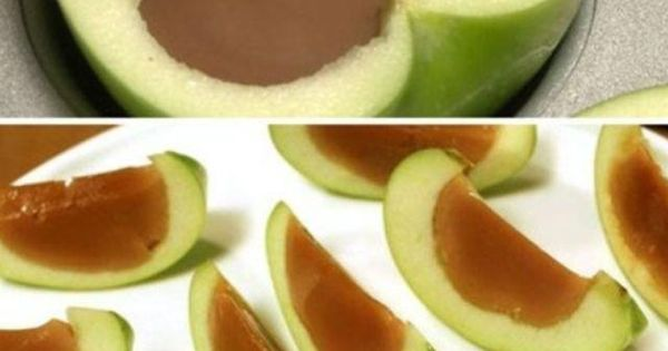 Caramel Apple Slices - •Cut apples into halves. •Hallow out apple halves