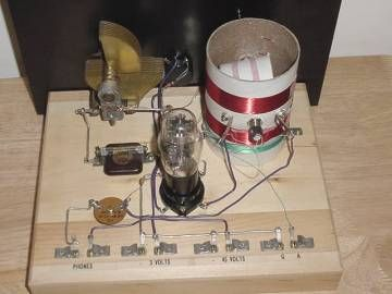 Looking Down At The One Triode Tube Regenerative Radio Homemade