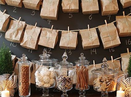 Paper bag advent calendar, love the brown paper bags and use of
