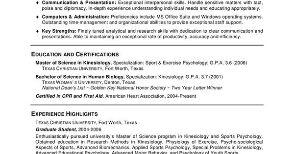 Psychology Graduate School Resume - Psychology Graduate School - exercise psychologist sample resume