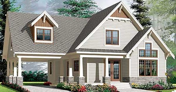 Plan 21992dr 2 Bed House Plan With Graceful Porch And Carport Craftsman House Plans Craftsman Style House Plans American Houses