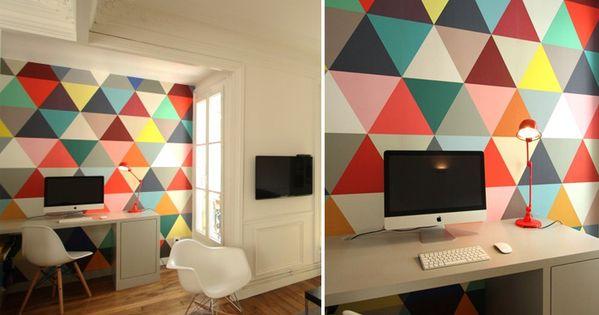 Papier peint triangles multicolores design minakani for Papel decomural vintage