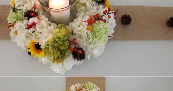 Diy candle ring centerpiece the silk flowers and