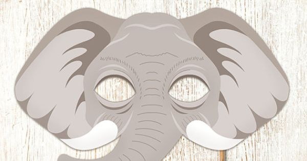 Elephant printable mask gray diy safari jungle by for Swan mask template