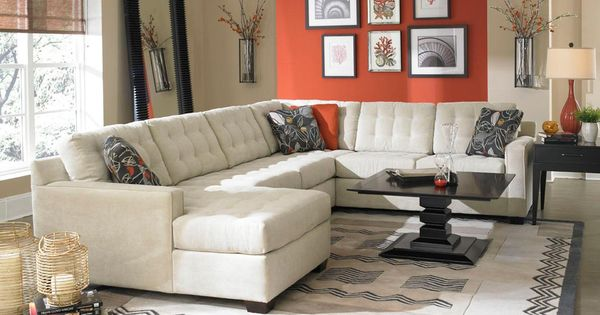 Love this modern living room and the bold accent wall for D furniture galleries rockville md