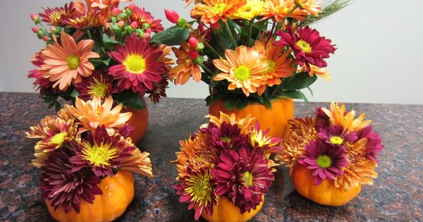 Mini Pumpkin Flower Arrangements Holiday Ideas