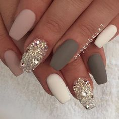 Gray Is The Best Color For Any Nails A Manicure With Dark Grey Is Universal And Practical Because It Wil Diamond Nail Art Diamond Nail Designs Gorgeous Nails