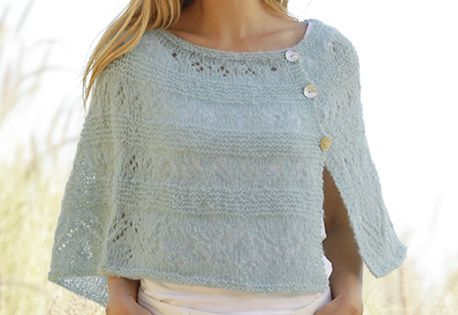 Knitting Pattern Side Button Poncho : DROPS poncho in garter st with lace pattern and buttons in ...