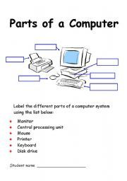 English Worksheet Parts Of A Computer Labelling Exercise Kids
