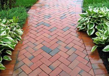 Brick Patio Patterns Type Of Manufactured Stone Is Brick Known For Its Classic Look Brick Brick Sidewalk Brick Walkway Walkway Landscaping