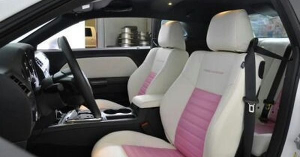 Pink And White Leather Interior 2013 Dodge Challenger I Need These Seats Girly Car Pink Chevy Trucks Dodge Challenger