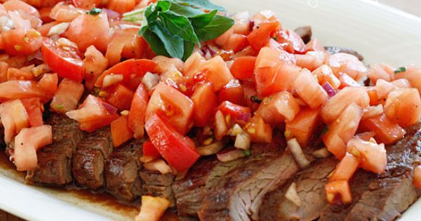 Indeed. Grilled flank steak with tomatoes, red onion and balsamic recipe ---
