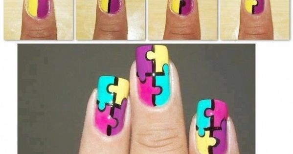 Jigsaw puzzle nail tutorial. Good to know for Autism awareness!