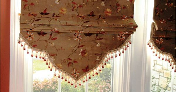 Faux Silk Embroidered Fabric Roman Shade With Decorative