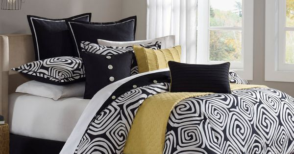 Black And Yellow Comforter Queen: Black White Yellow Comforter Set