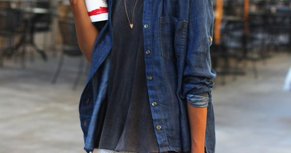 denim shirt + white shorts