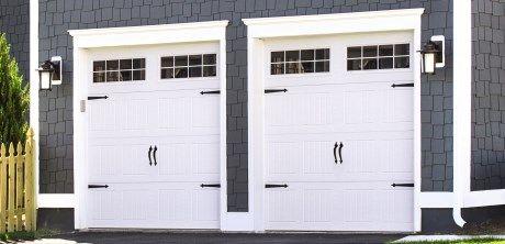 Garage door made of steel painted white and has beautiful for Wayne dalton 9100 series
