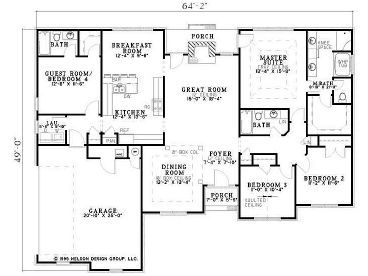 Poss One Of My Faves Just Under 2000 Sq Ft Great 4 Br Plan With Master And 2 Bedrooms On One Si New House Plans Traditional House Plans House Plans One Story