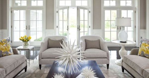 Transitional living room- love the wall color (Benjamin Moore Shale 861), the
