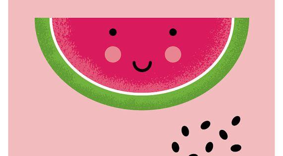 Cute watermelon nursery art print, kawaii artwork ...