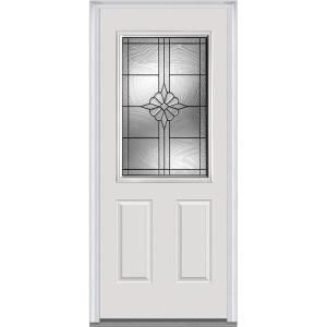 Mmi Door 36 In X 80 In Dahlia Left Hand Inswing 1 2 Lite Decorative Primed Fiberglass Smooth Prehung Front Door Z021389l The Home Depot Mmi Door Steel Doors Exterior Front Entry Doors