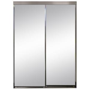 Impact Plus 60 In X 84 In Beveled Edge Backed Mirror Aluminum Frame Interior Closet Sliding Door With Chrome Trim Sb2 6084c Mirror Closet Doors Sliding Mirror Closet Doors Aluminium Sliding Doors