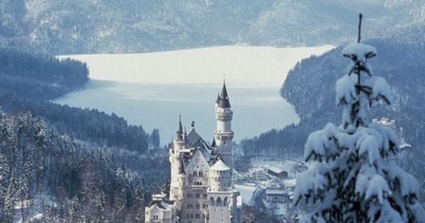 Castle in winter wonderland, Bavaria, Germany