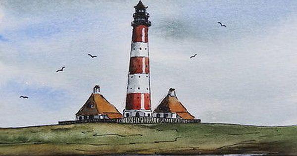 Original Aquarell Leuchtturm Westerhever Sand Leuchtturm Turm Aquarell