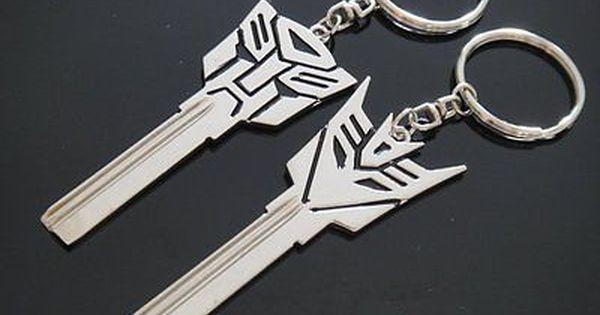 2pcs Transformers Logo Uncut Spare Key Blank Keychain Keyring