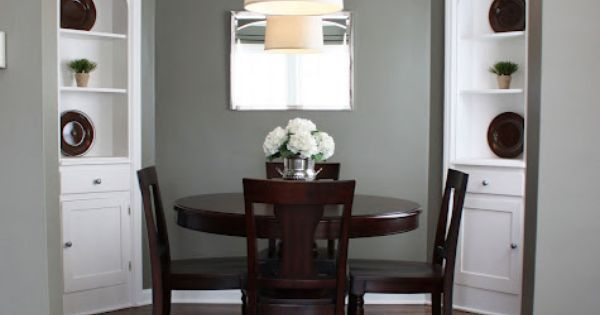 LOVE THE COLOR: Benjamin Moore Antique Pewter-- dining room wall color, and