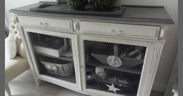 buffet vintage grillag patin perle et zinc deco pinterest. Black Bedroom Furniture Sets. Home Design Ideas
