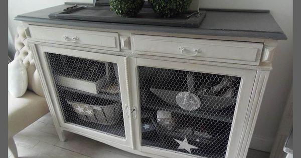 buffet vintage grillag patin perle et zinc deco pinterest. Black Bedroom Furniture Sets. Home Design Ideas