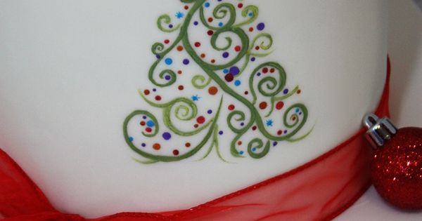 Hand-painted abstract Christmas tree. 8 inch gingerbread ...