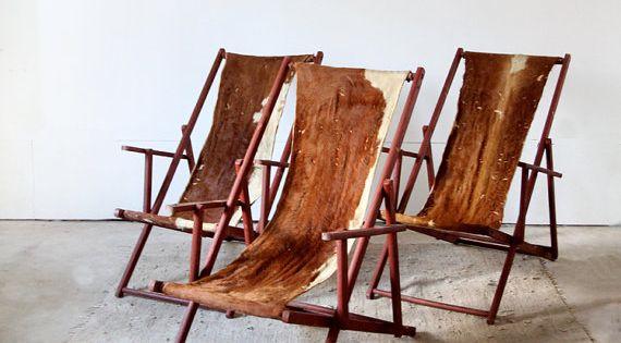 vintage cowhide lounge chairs via etsy interiors pinterest furniture bohemian and decks. Black Bedroom Furniture Sets. Home Design Ideas
