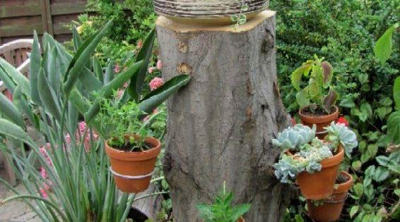 baumstamm bastelideen | baumstumpf im garten gestalten|idee fr, Garten und erstellen