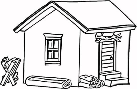 Log Cabin In Wood Coloring Page From Houses Category Select From