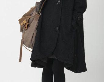 wintermantel damen wolle lang schwarz kapuze