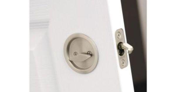 Kwikset round satin nickel bed bath handle pocket door - Locks for pocket doors in bathrooms ...