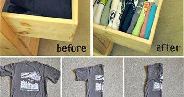 Como doblar camisetas y organizarlas de tal manera que - Truco para doblar camisetas ...