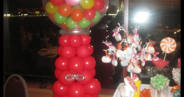 Gumball machine for candy themed sweet 16 balloon candy for Balloon decoration machine